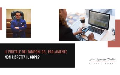 Il portale dei tamponi del Parlamento non rispetta il GDPR?